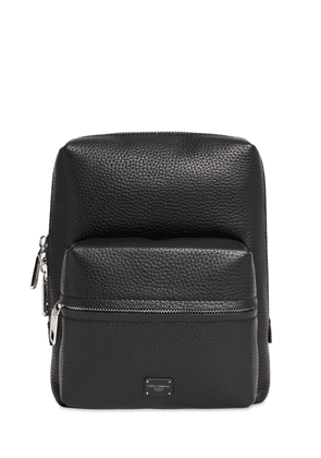 Logo Label Leather Backpack