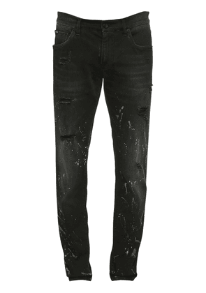 Destroyed & Painted Cotton Denim Jeans