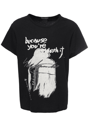 Printed Message Cotton Jersey T-shirt