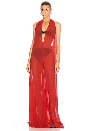 ADRIANA DEGREAS Solid Halterneck Long Dress in Red - Red. Size M (also in L).