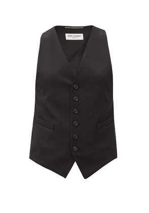 Saint Laurent - Grain-de-poudre Wool Waistcoat - Womens - Black
