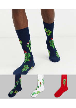 ASOS DESIGN ankle sock with Christmas outback print 3 pack save-Multi