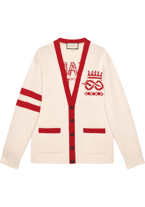 Gucci Embroidered wool cardigan - NEUTRALS