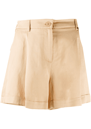 Twin-Set high-waisted crinkled effect shorts - NEUTRALS