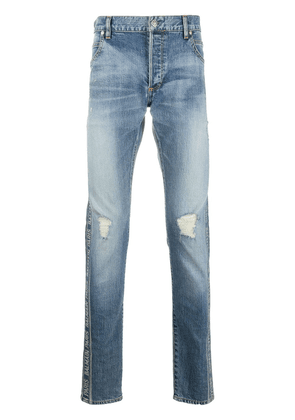 Balmain logo-tape slim-fit jeans - Blue
