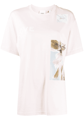 Burberry Montage print oversized T-shirt - PINK