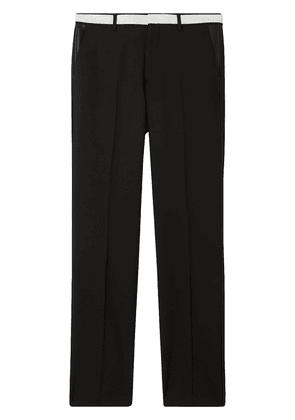 Burberry Classic Fit Lambskin Detail Wool Tailored Trousers - Black