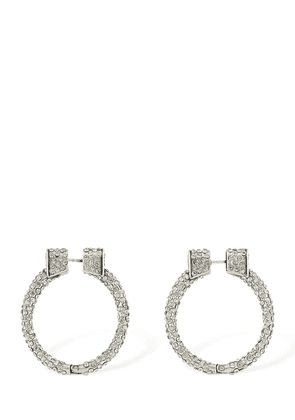 Small Engraved Hoop Earrings W/ Crystals