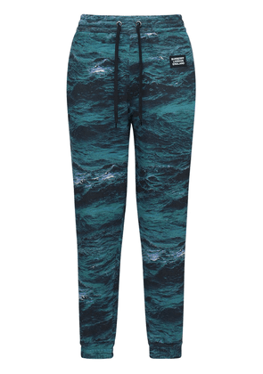 Printed Cotton Jersey Sweatpants W/ Tape