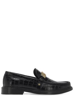 25mm Logo Croc Embossed Leather Loafers