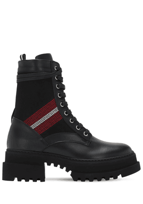 40mm Giois Leather & Fabric Combat Boots