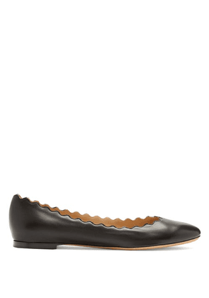 Chloé - Lauren Scallop-edge Leather Flats - Womens - Black