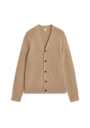Cotton V-Neck Cardigan - Beige