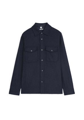 Wool Blend Overshirt - Blue