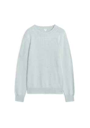 Silk Blend Crewneck Jumper - Blue