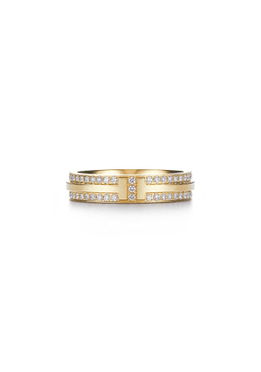 Tiffany T narrow pavé diamond ring in 18k gold, 4.5 mm wide - Size 11