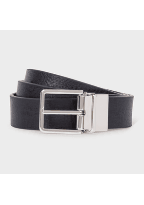 Men's Navy And Burgundy Cut-To-Fit Reversible Leather Belt
