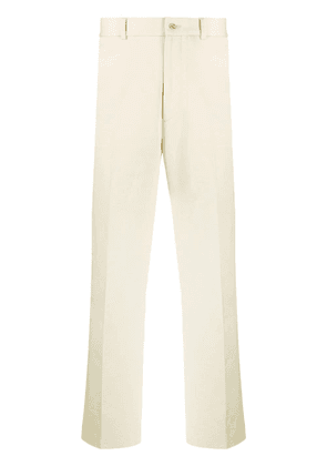 Gucci kitten embroidered chino trousers - NEUTRALS
