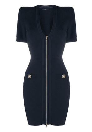 Balmain quilted V-neck dress - Blue