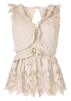 Self-Portrait embroidered sleeveless blouse - NEUTRALS