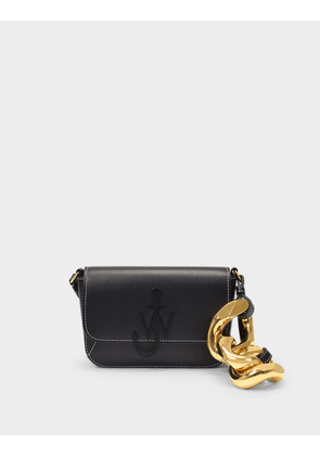 Chain Midi Anchor Bag in Black Cow Leather
