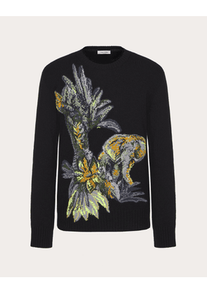 Valentino Uomo Crew-neck Sweater With Mural Jungle Embroidery Man Multicolored Cotton 69%, Mohair 31% XS