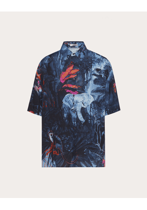 Valentino Short-sleeve Shirt With Mural Jungle Print Man Multicolor Viscose 100% S