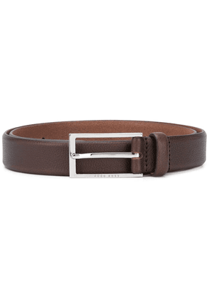 Boss Hugo Boss leather rectangular buckle belt - Brown
