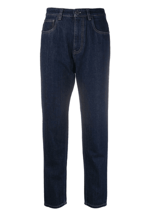 Prada triangle-logo mum-fit jeans - Blue