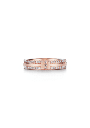 Tiffany T narrow pavé diamond ring in 18k rose gold, 4.5 mm wide - Size 5