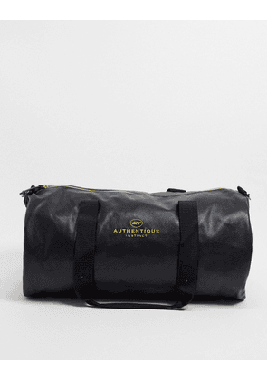 ASOS DESIGN holdall bag in black faux leather with 'authentique' text print