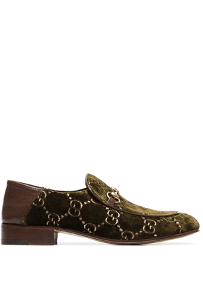 Gucci GG horsebit velvet-effect loafers - Green