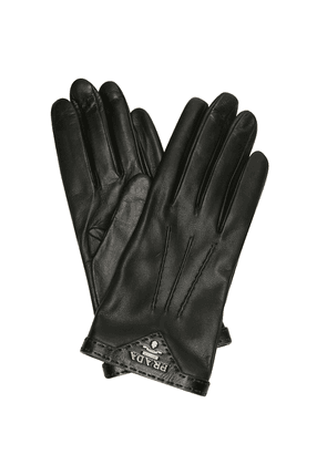 Logo leather gloves