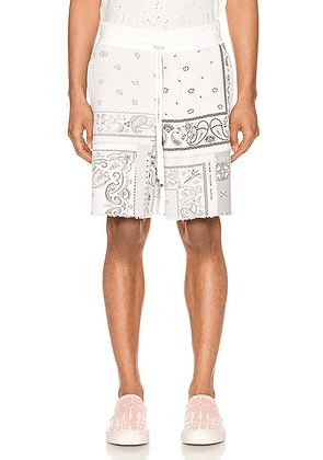 Amiri Bandana Reconstructed Shorts in Ivory - Grey. Size S (also in ).