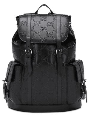Gg Debossed Leather Backpack