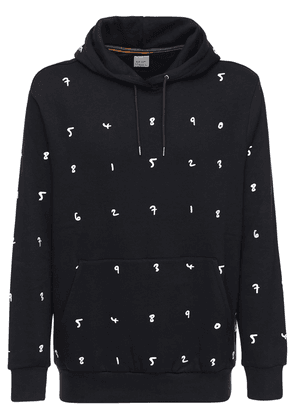 Embroidered Cotton Blend Jersey Hoodie