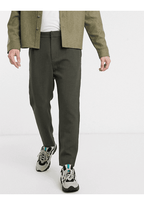Weekday Mard tapered trousers in khaki-Green