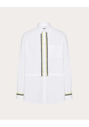 Valentino Uomo Semi-oversize Shirt With Decorative Embroidery Man Optic White 100% Cotone 41