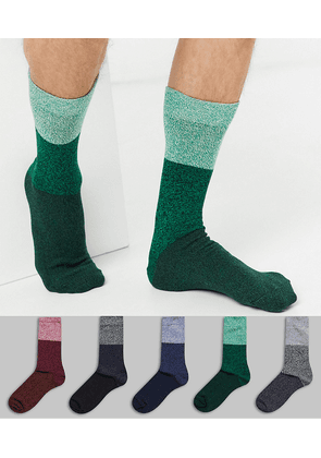 ASOS DESIGN 5 pack ankle sock with block twist stripes save-Multi