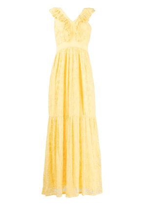 LIU JO floral lace patterned tiered dress - Yellow