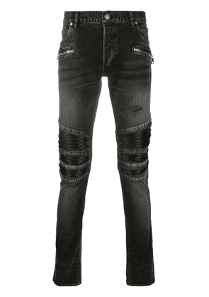 Balmain ribbed knees skinny jeans - Black