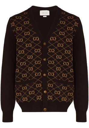 Gucci GG embroidered knitted cardigan - Brown