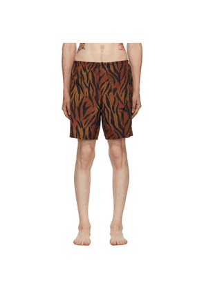 Palm Angels Brown and Black Tiger Swim Shorts