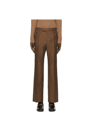Gucci Brown and Beige Silk GG Diagonal Pants