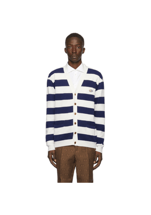 Gucci Navy and White Cotton Knit Stripe GG Cardigan