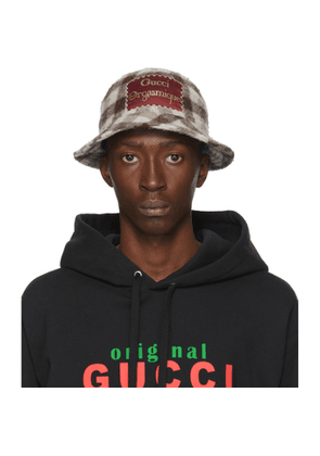 Gucci White and Brown Wool Gucci Orgasmique Bucket Hat
