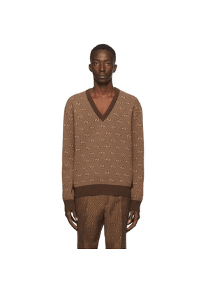 Gucci Brown Wool Jacquard GG Stripe V-Neck Sweater