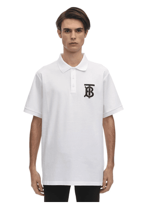 Tb Logo Print Cotton Polo