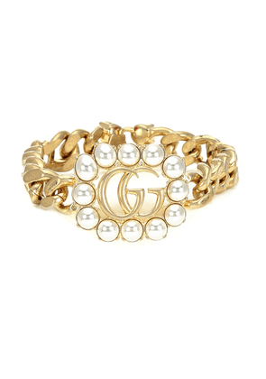 Double G chain-link bracelet with faux pearls