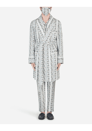 Dolce & Gabbana Loungewear Collection - FLORAL-PRINT ROBE WITH MATCHING FACE MASK FLORAL PRINT